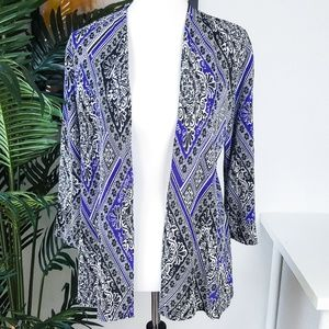 Chico's Travelers Blue Pleated Open Cardigan 0/S